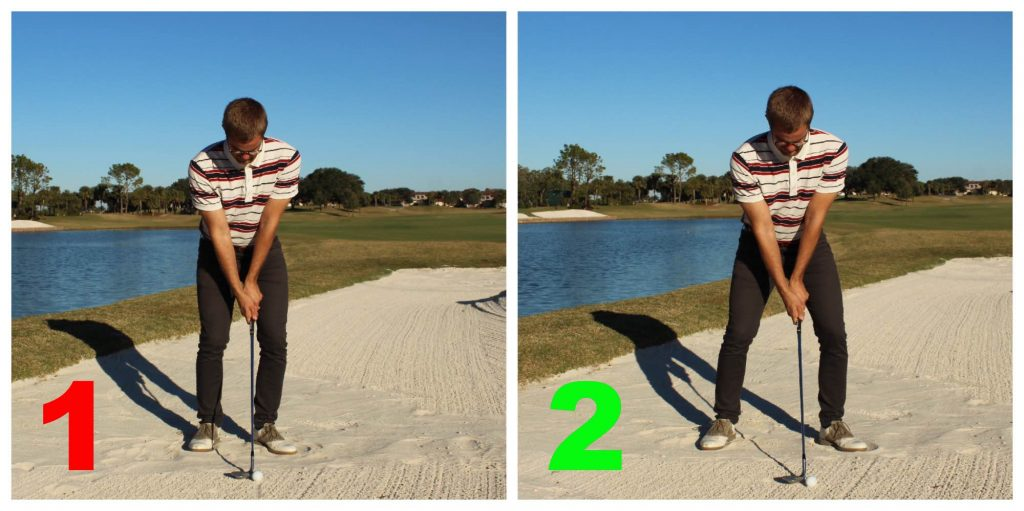 A wider stance in the bunker helps you with lowering the body, and creates a more stable lower body, which both are good things in the sand.