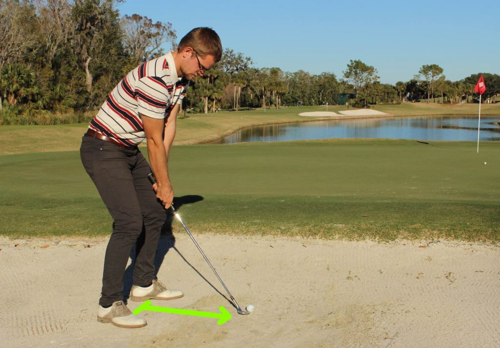 Move a little away from the ball in the bunker. This creates room for the hands during impact.