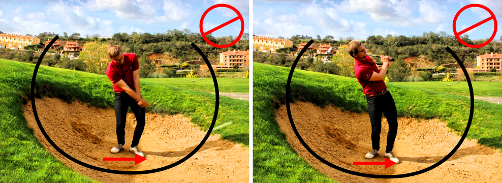 Bad swing downhill bunker shot