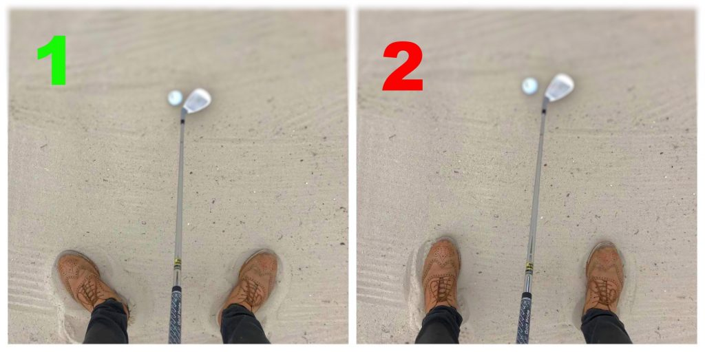 Make sure to flare out your foots in the bunker. This creates more stability and allows your body to turn in the follow-through.