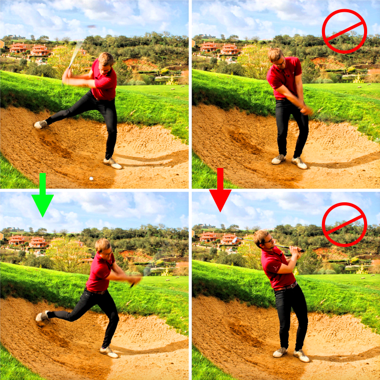 Swing downhill bunker shot