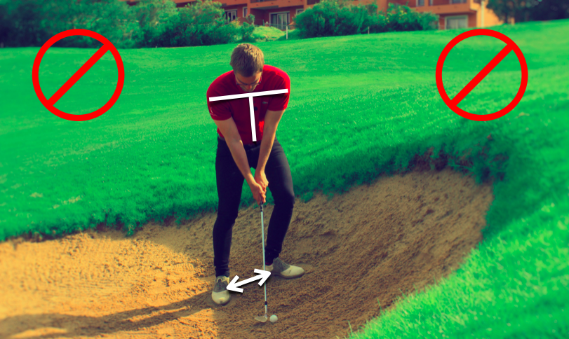 How not to setup for an uphill bunker shot